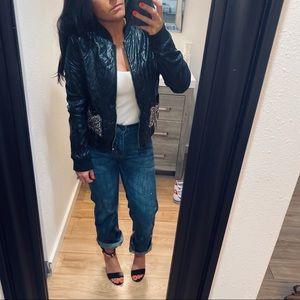 Topshop moto bomber vegan leather bead stud jacket